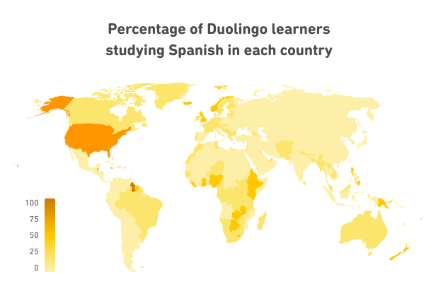Percentage of Duolingo learners studying Spanish in each country
