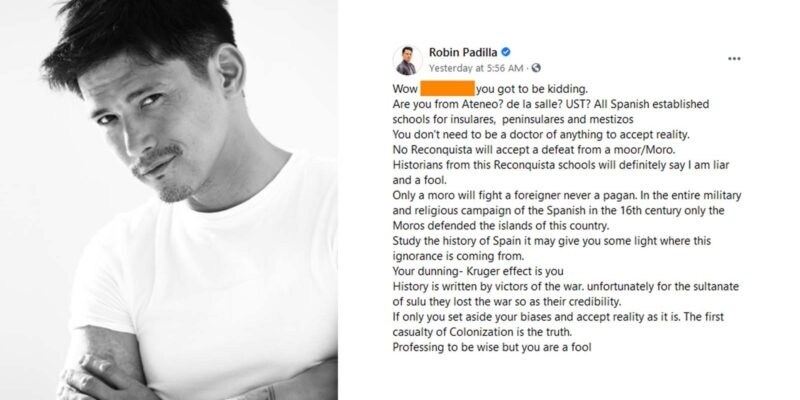 'Study the History of Spain,' Robin Padilla Tells Social Media User After He Was Criticized