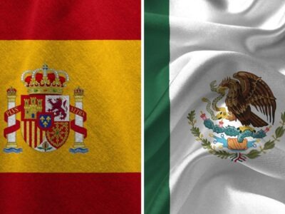 Flags of Spain and Mexico